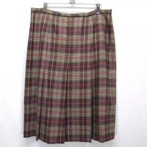 Pendleton Plaid Wool  Pleated Skirt